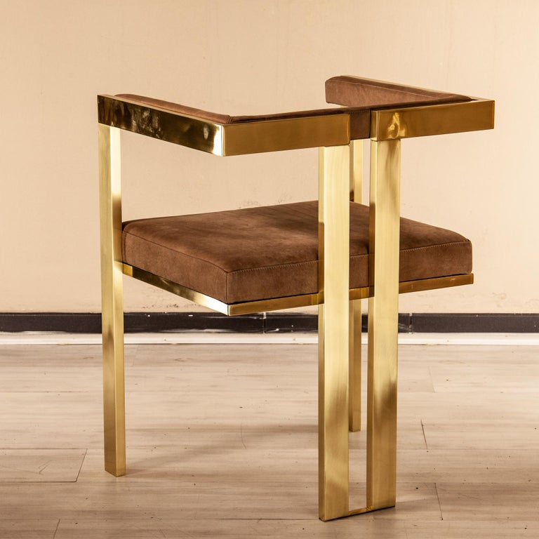 Meccano Armchair, Solid Brass Frame, Luxury Manufacturing by Selezioni Domus For Sale 3