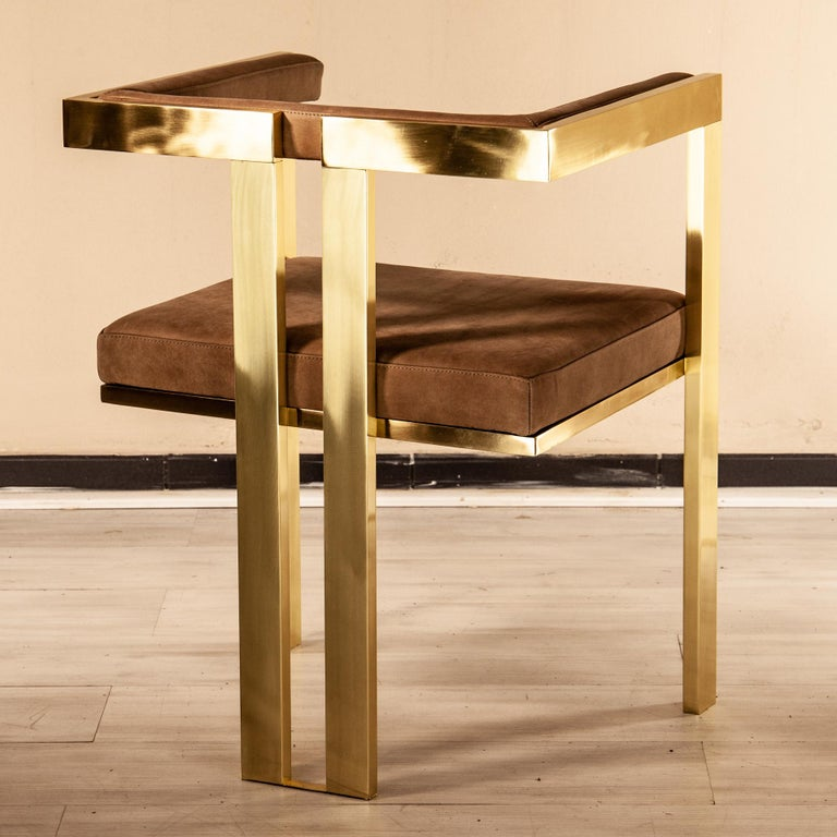 Meccano Armchair, Solid Brass Frame, Luxury Manufacturing by Selezioni Domus For Sale 5