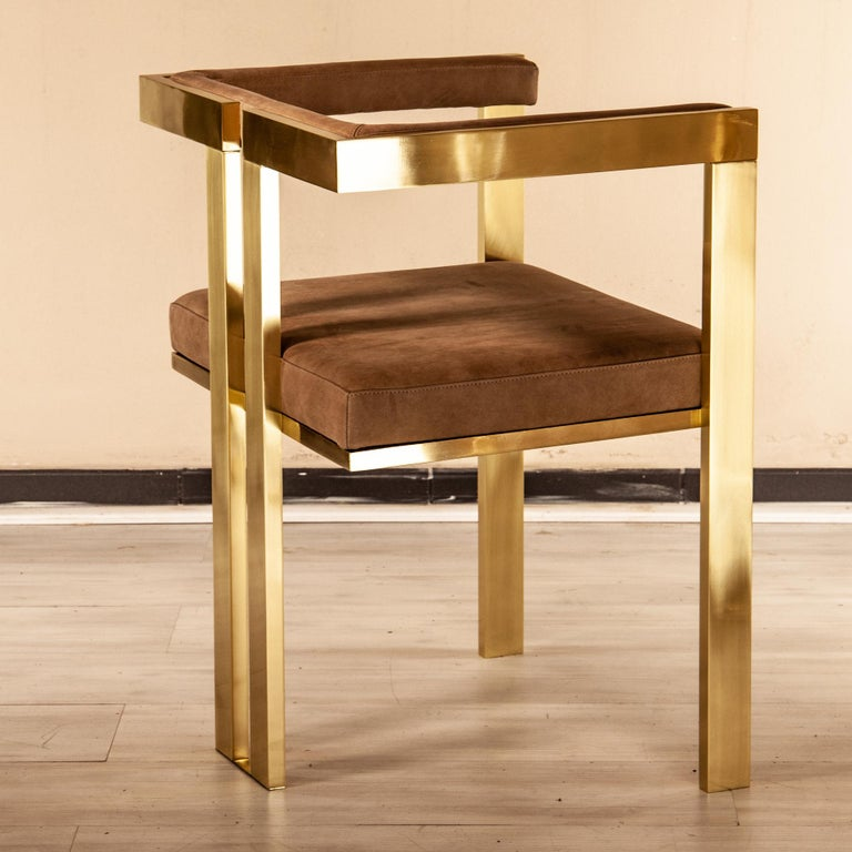 Meccano Armchair, Solid Brass Frame, Luxury Manufacturing by Selezioni Domus For Sale 6