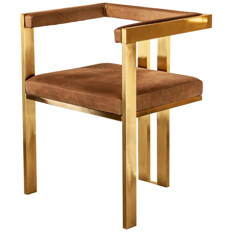 Meccano Armchair, Solid Brass Frame, Luxury Manufacturing by Selezioni Domus For Sale
