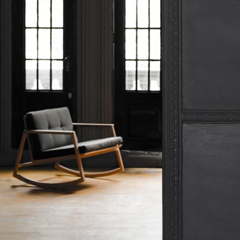 Woodwork Mecedora Dedo, Mexican Contemporary Rocking Chair by Emiliano Molina for Cuchara For Sale