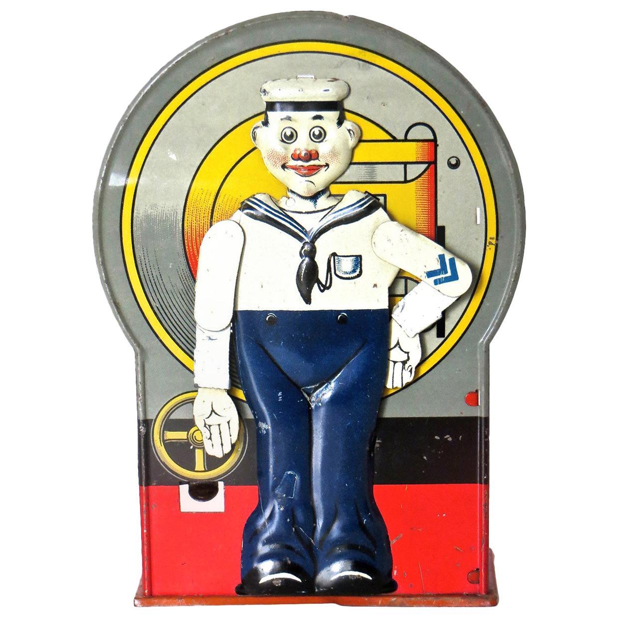 """Mechanical Bank """"Saluting Sailor"""", circa 1920s"""