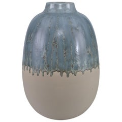 Meda Medium Vase in Silvery Blue and Cream Ceramic by CuratedKravet