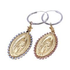 Medal Virgin Mary Earrings Rhinestone Pink Light Blue J Dauphin