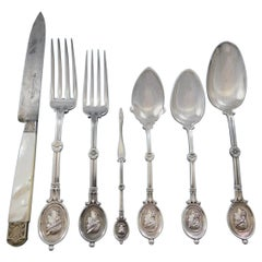 Medallion, Wendt Sterling Silver Flatware Service Dinner Set 79 Pcs with Chest