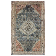 Medallion Design Antique Persian Malayer Rug in Blue/Gray/Green and Salmon/Pink