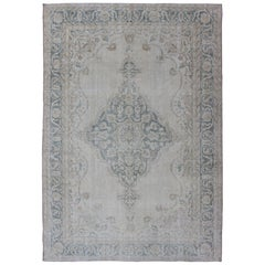 Medallion Distressed Oushak Turkey in Cream and Stone Blue