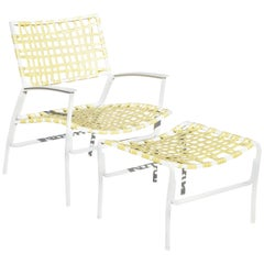 Medallion Midcentury Aluminum Yellow Vinyl Strap Patio Lounge Chair and Ottoman