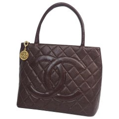 Medallion tote  Womens  tote bag A01804  Bordeaux x gold hardware
