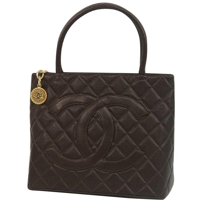 Medallion tote  Womens  tote bag A01804  dark brown x gold hardware Leather For Sale