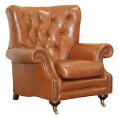 Medallion Upholstery Brown Leather Chesterfield Armchair Part of Suite