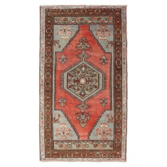 Medallion Vintage Turkish Oushak in Soft Red, Charcoal, Gray and Brown