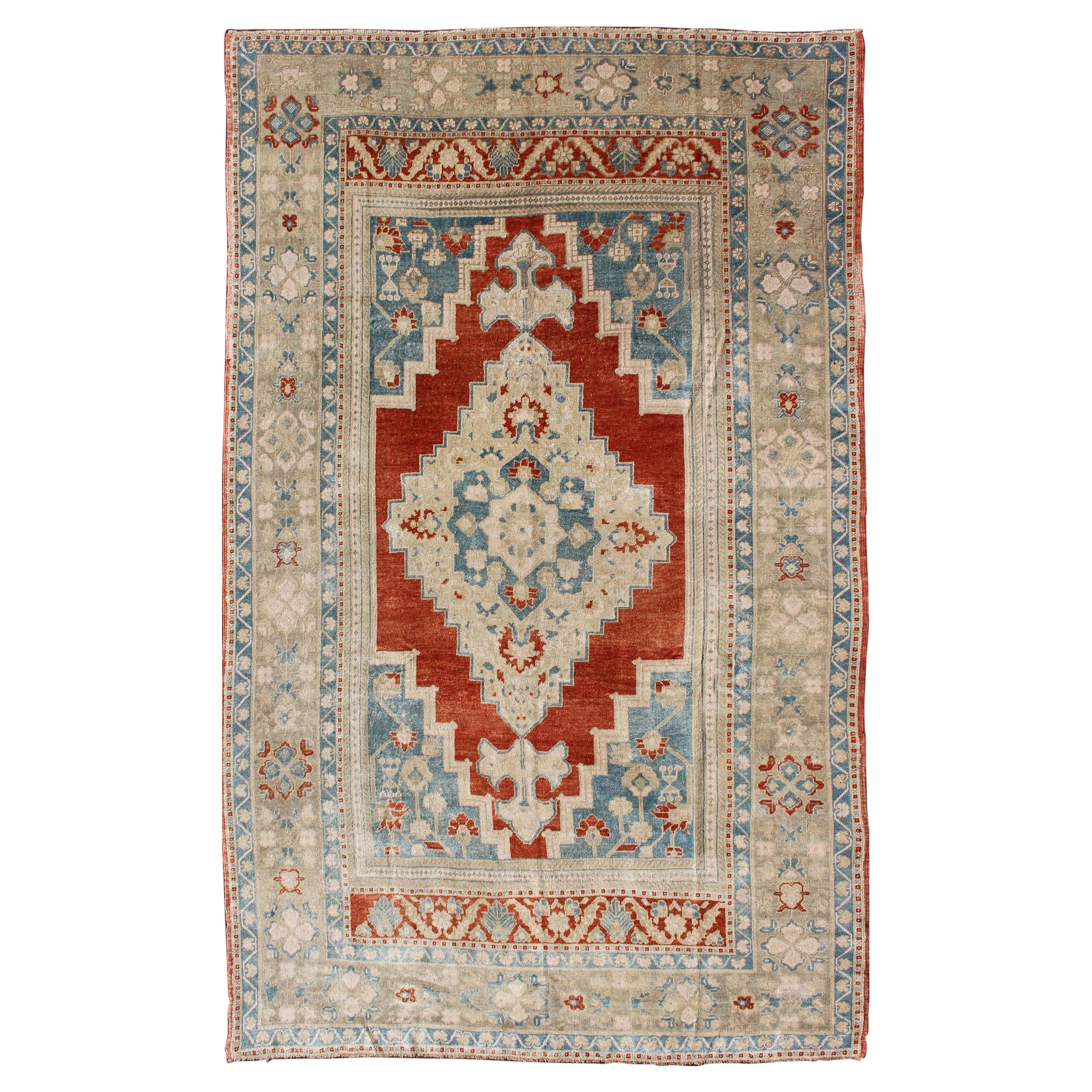 Medallion Vintage Turkish Oushak Turkish in Beautiful Red, Blue and Light Green
