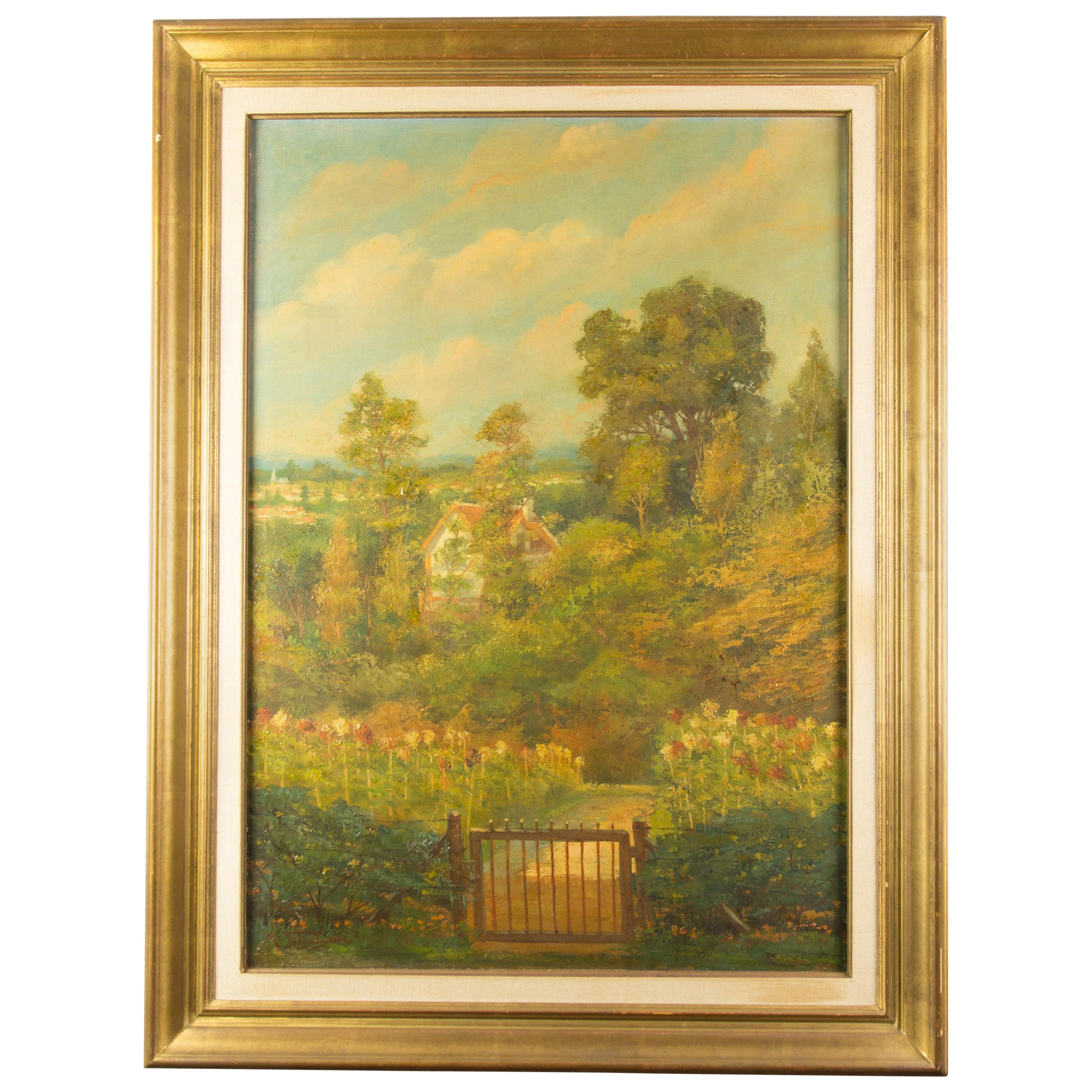 Médard Tytgat Painting of a Landscape with Garden
