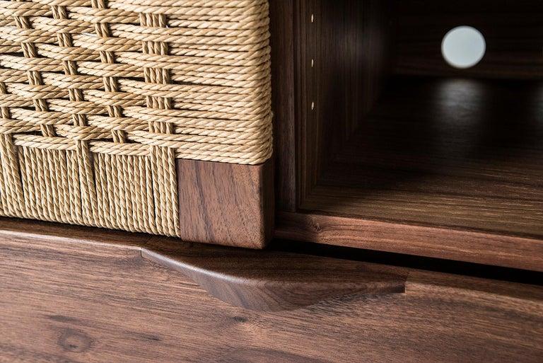 Media Credenza, Cabinet, Storage, Midcentury, Danish Weave, Custom, Wood, Shelf For Sale 2