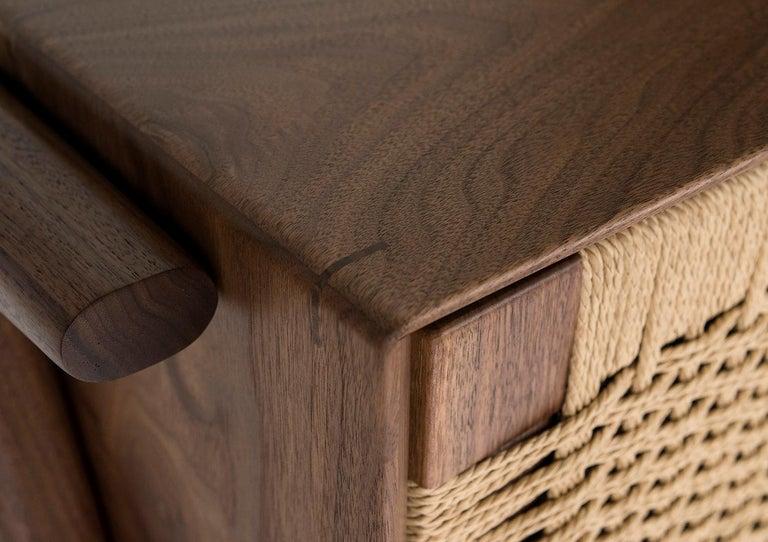 Media Credenza, Cabinet, Storage, Midcentury, Danish Weave, Custom, Wood, Shelf For Sale 4