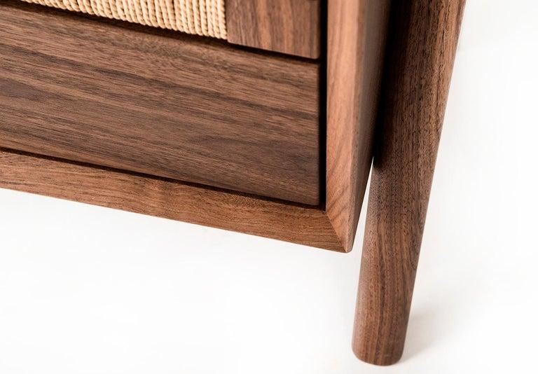 Media Credenza, Cabinet, Storage, Midcentury, Danish Weave, Custom, Wood, Shelf For Sale 5
