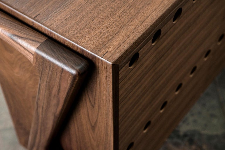 Media Credenza, Cabinet, Storage, Midcentury, Danish Weave, Custom, Wood, Shelf For Sale 6