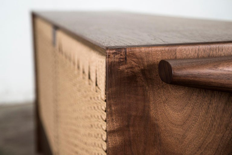 Media Credenza, Cabinet, Storage, Midcentury, Danish Weave, Custom, Wood, Shelf For Sale 8