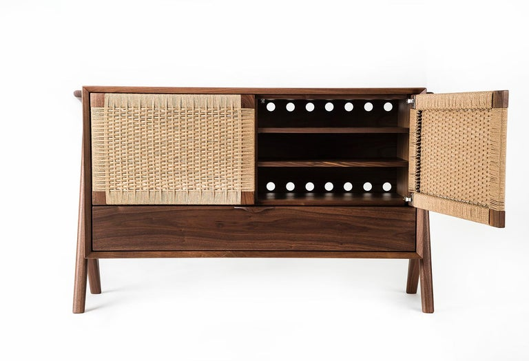 American Media Credenza, Cabinet, Storage, Midcentury, Danish Weave, Custom, Wood, Shelf For Sale