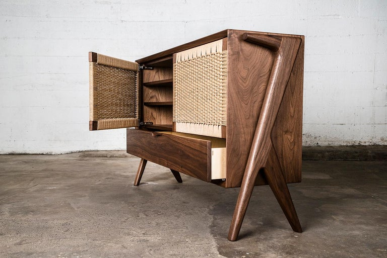 Hand-Crafted Media Credenza, Cabinet, Storage, Midcentury, Danish Weave, Custom, Wood, Shelf For Sale