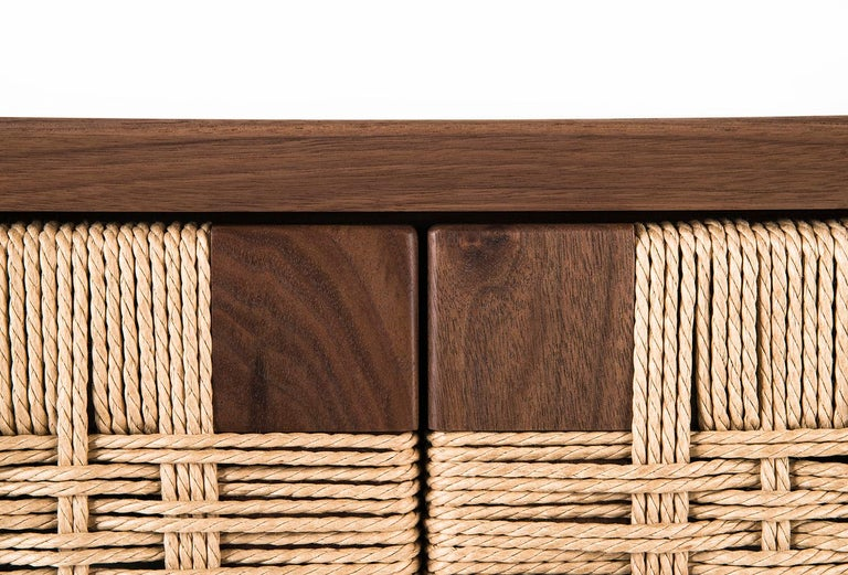 Contemporary Media Credenza, Cabinet, Storage, Midcentury, Danish Weave, Custom, Wood, Shelf For Sale