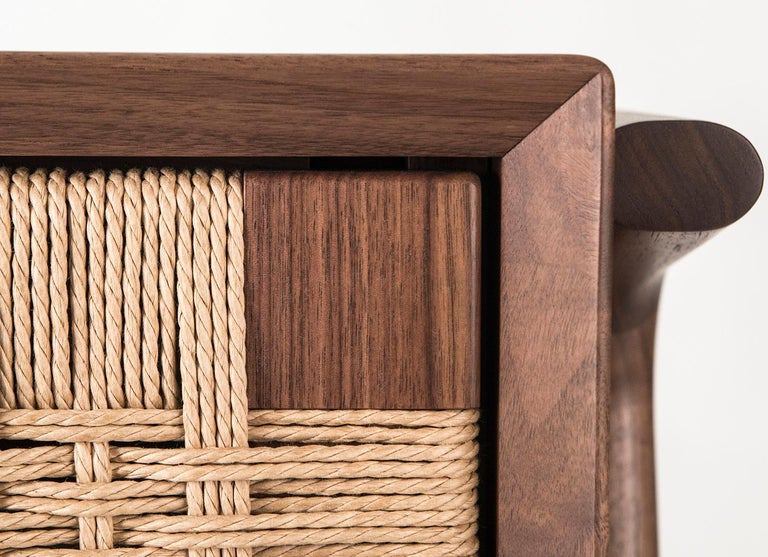 Cord Media Credenza, Cabinet, Storage, Midcentury, Danish Weave, Custom, Wood, Shelf For Sale