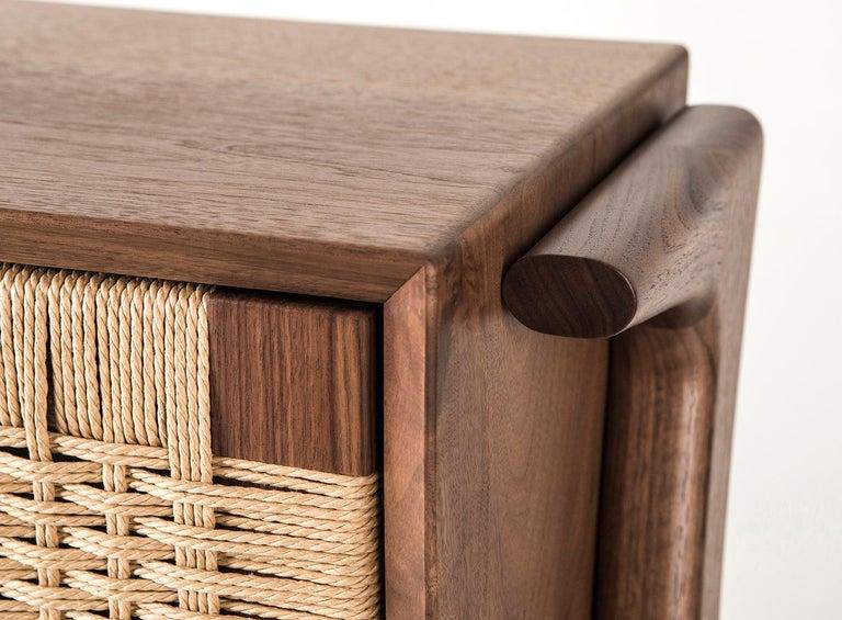 Media Credenza, Cabinet, Storage, Midcentury, Danish Weave, Custom, Wood, Shelf For Sale 1
