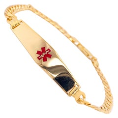 Medical Alert Bracelet 14K Yellow Gold Chain with Red Enamel Medical Caduceus