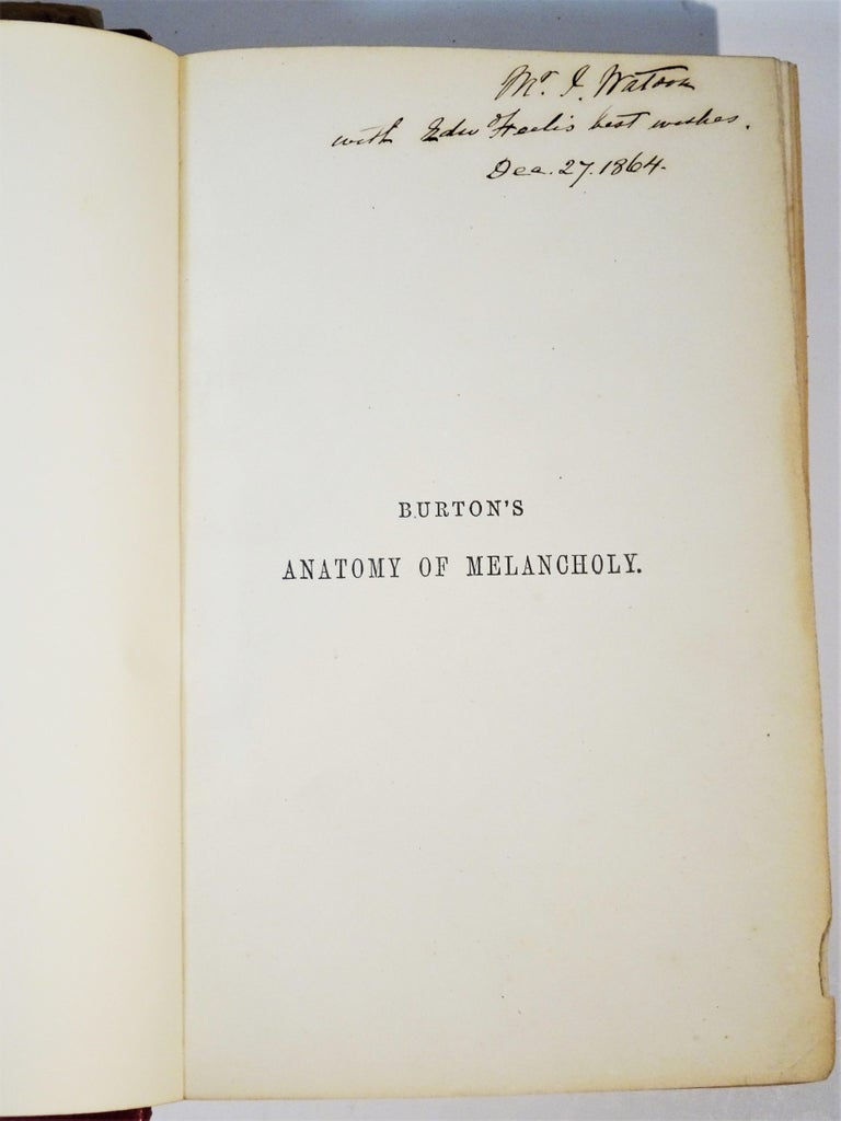 Medical: Burton's Anatomy of Melancholy, in Leather, New Edition, London, 1863 4