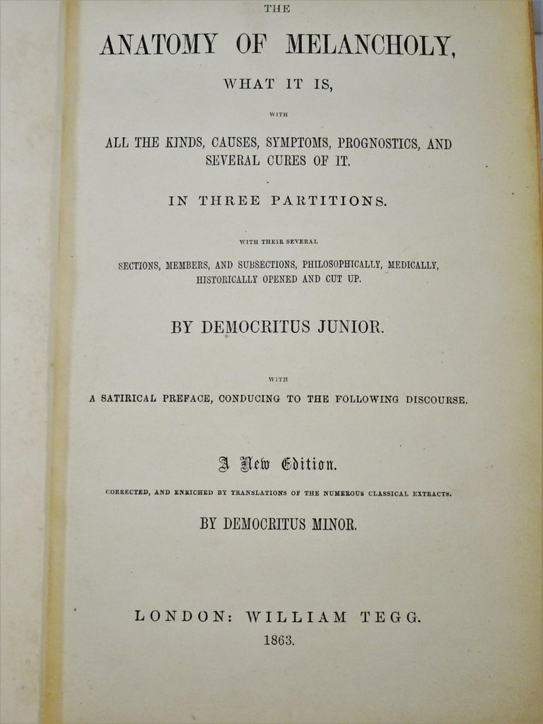 Medical: Burton's Anatomy of Melancholy, in Leather, New Edition, London, 1863 8