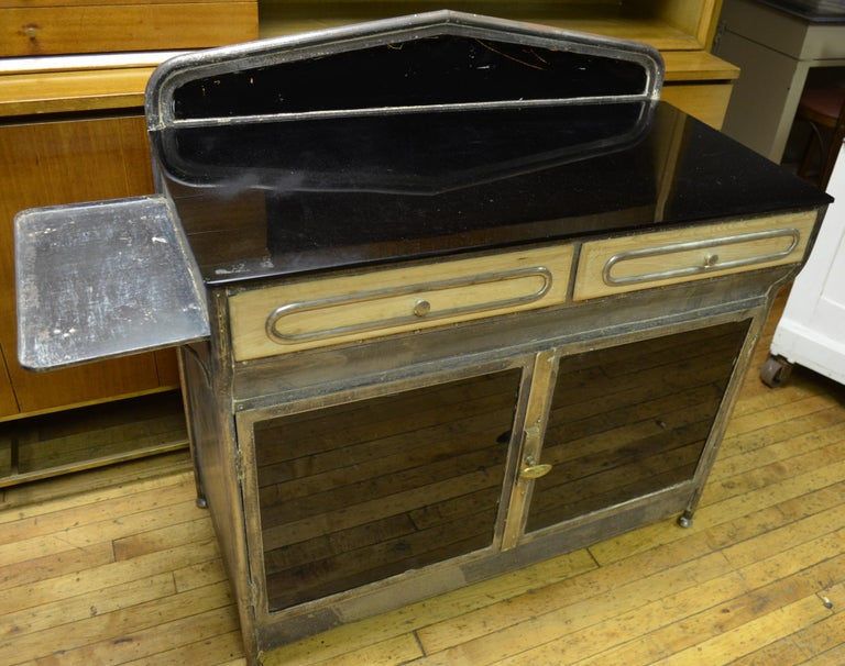 Steel Medical Cabinet from the Art Deco Period, circa 1920s For Sale