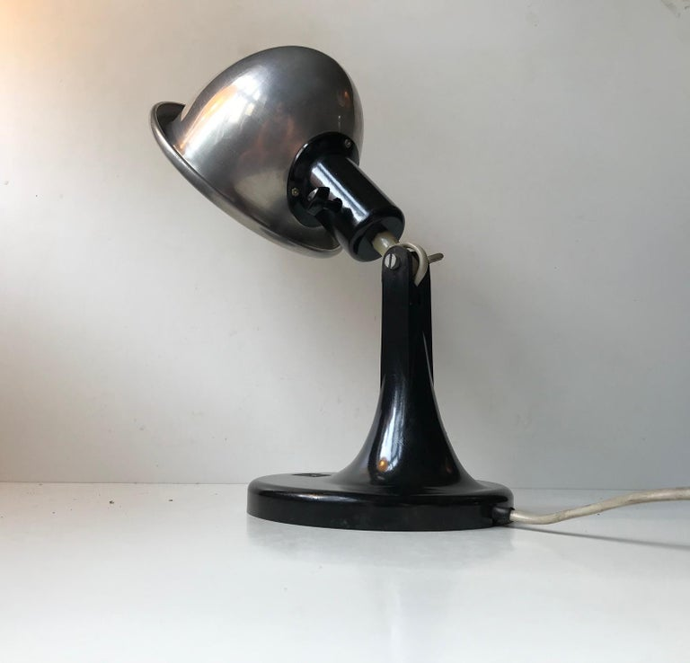 Mid-20th Century Medical DDR Table Lamp in Bakelite and Aluminium, circa 1940 For Sale