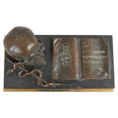 Medical Themed Bronze Desk Item, Skull, Caduceus, and Medical Book ca. 1900