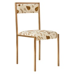 Medici Chair with Embroidered Woven Linen by Cam Crockford