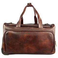 MEDICI FIRENZE Brown Leather Top Handle Shoulder Strap Duffle Bag