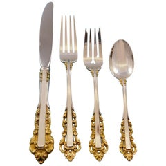 Medici Golden Accent by Gorham Sterling Silver Flatware Set Service 24 Pieces