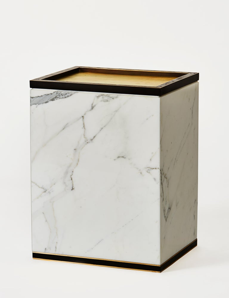 Medici table in brass, oak and marble by Cam Crockford 