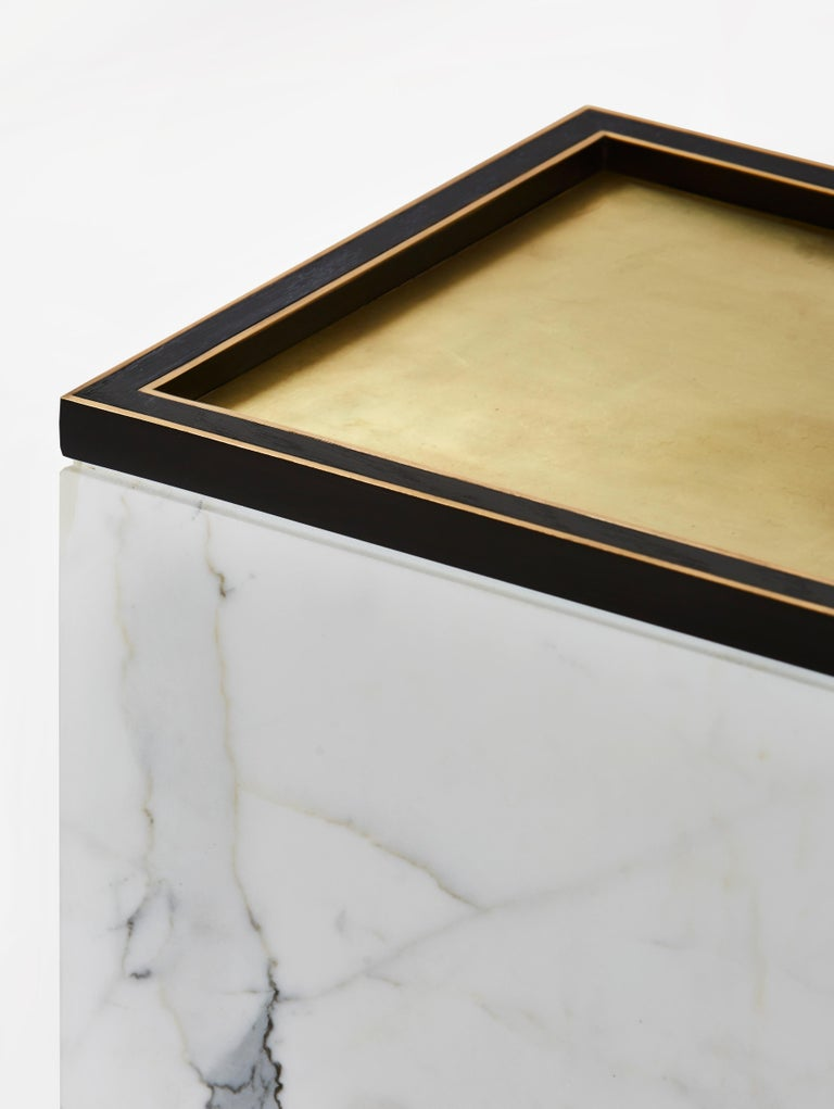 Modern Medici Table in Brass, Oak, and Marble by Cam Crockford  For Sale