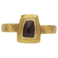 Medieval Amethyst Cabochon Ring, circa 14th-15th Century