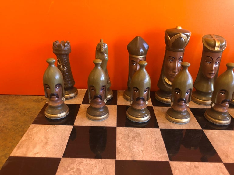 Medieval Chess Set by Duncan on Onyx Board For Sale 4