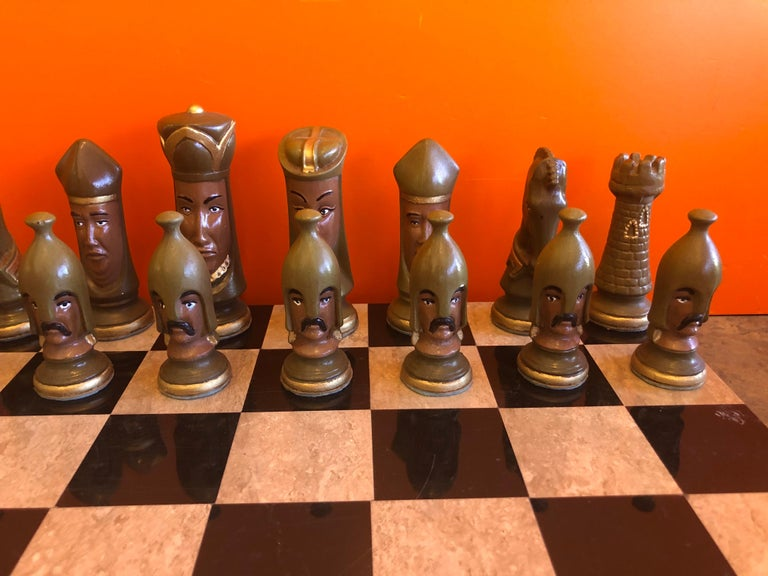 Medieval Chess Set by Duncan on Onyx Board For Sale 5