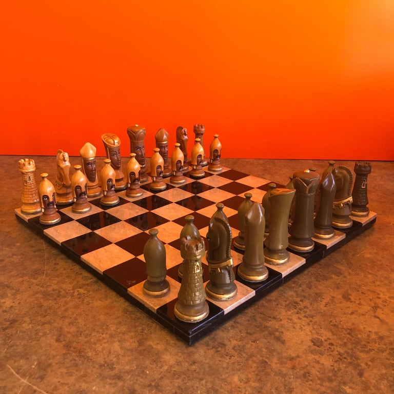 Medieval Chess Set by Duncan on Onyx Board For Sale 7