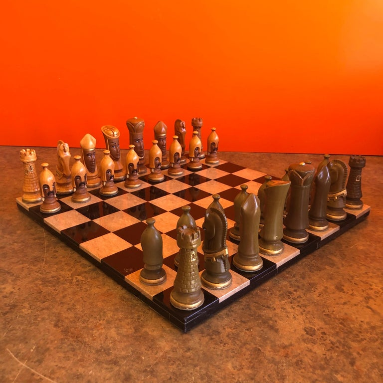 Mid-Century Modern Medieval Chess Set by Duncan on Onyx Board For Sale