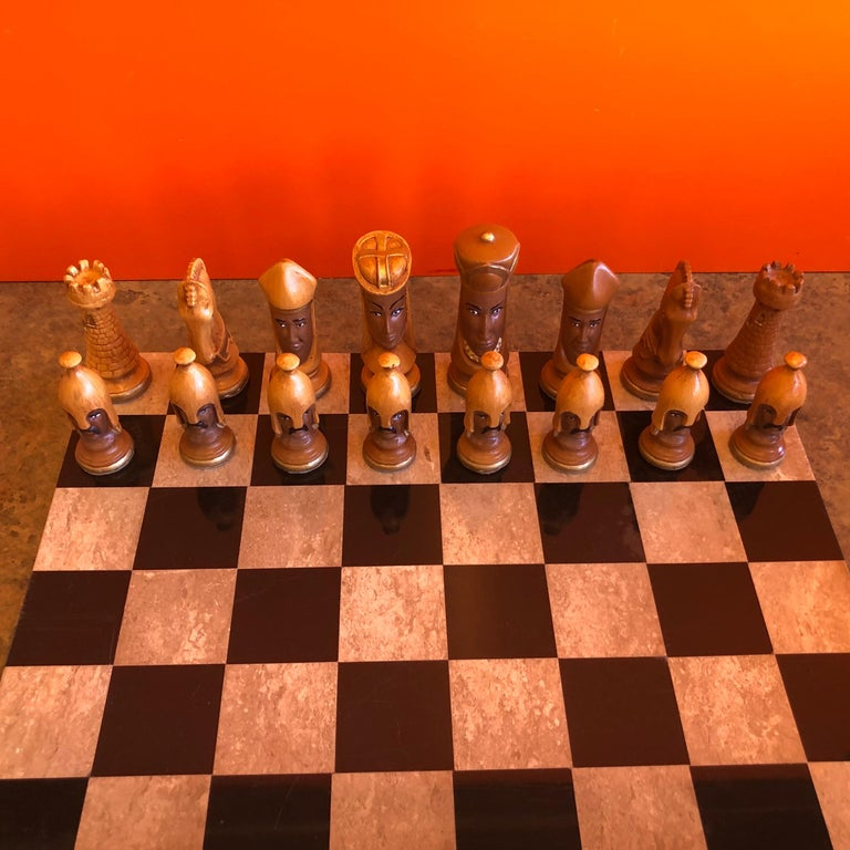 American Medieval Chess Set by Duncan on Onyx Board For Sale