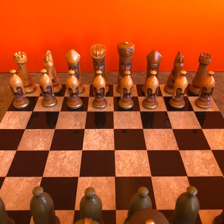 Medieval Chess Set by Duncan on Onyx Board In Good Condition For Sale In San Diego, CA