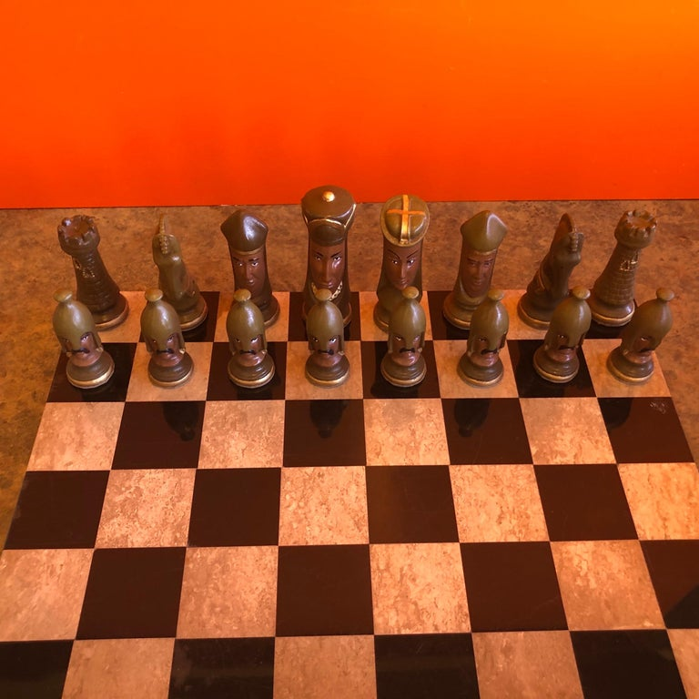 Medieval Chess Set by Duncan on Onyx Board For Sale 1