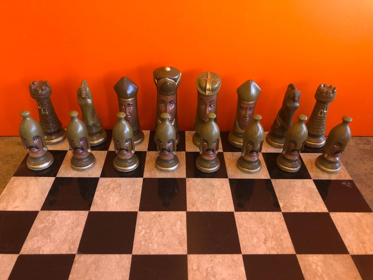 Medieval Chess Set by Duncan on Onyx Board For Sale 3