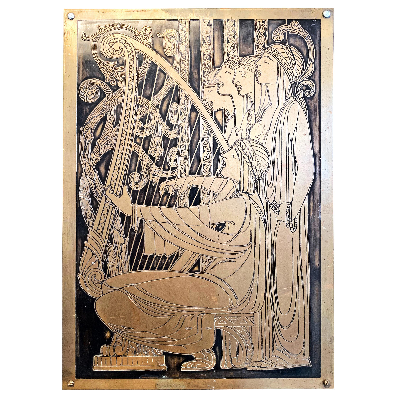 """Medieval Choir,"" Art Deco Scene of Harpist and Choir, Incised Bronze Panel"
