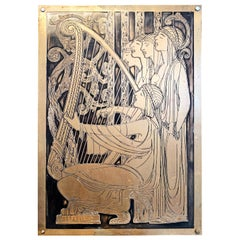 """Medieval Choir,"" Art Deco Scene of Harpist and Choir, Incised Bronze Panel"